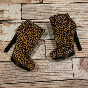 Nine West pony hair leopard heeled booties